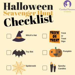 Image of a Halloween Scavenger hunt checklist.