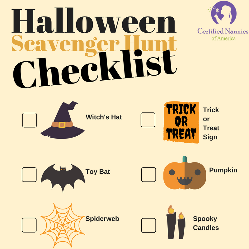 Image of a Halloween Scavenger hunt checklist.